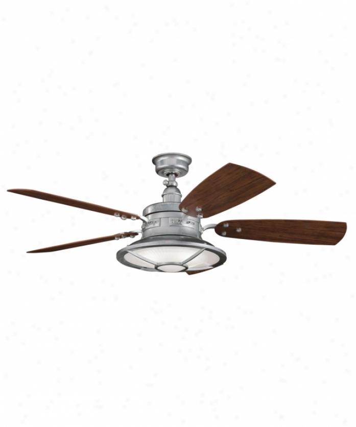 Kichler 310102gst Harbour Walk 4 Light 5 Blade Ceiling Fan In Galvanized Steeo