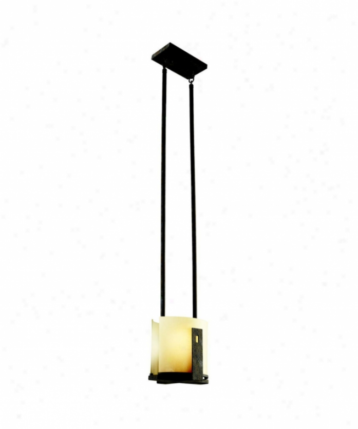 Kichler 42179oi Montara 1 Light Mini Pendant In Old Iron With Tixtured Line nWumber Etched Inner Cylinders Glass