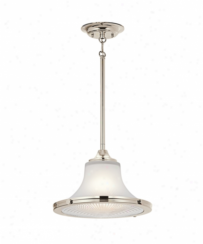 Kichler 42323pn Searcy Street 1 Light Ceiling Pendant In Polished Nickel With Clear Bottom / Satin Etched Top Glass