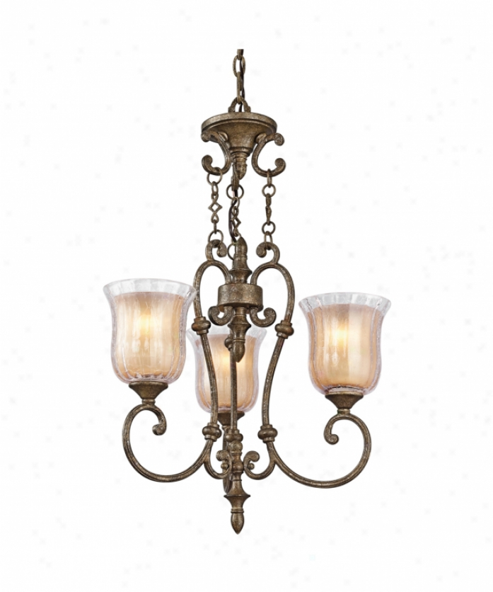Kichler 42047bgn Veroia 3 Light Mini Chandelier In Burnished Granite With Clear Crackle And Loose Umber Etched Glass