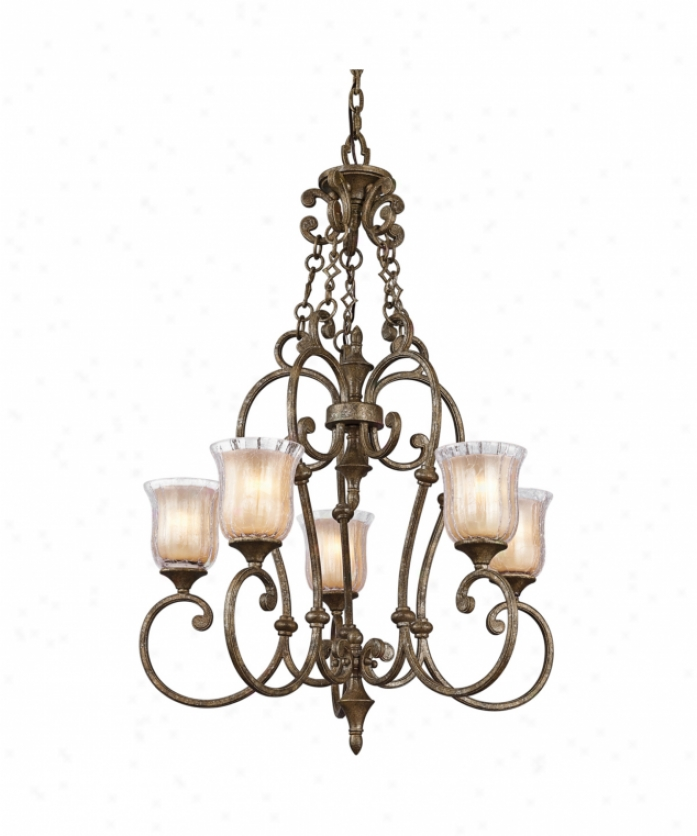 Kichler 42408bgn Veroia 5 Light Single Tier Chandelier nI Burnished Granite With Clear Crackle And Light Umber Etched Glass