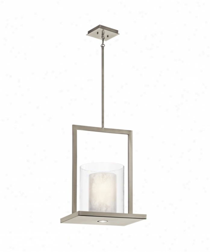 Kichle 42550clp Triad 2 Light Ceiling Pendant In Classic Pewter With Clear Outside With White Vetro Mica Glass