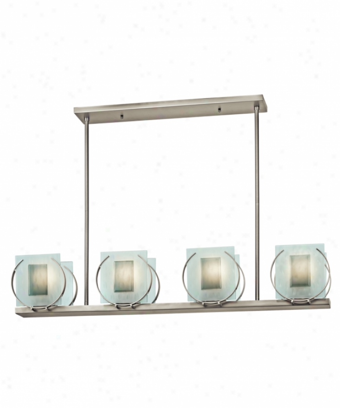 Kichler 42570no Manitoba 4 Light Island Light In Brushed Nickel With Etched Texutred With Light Gray Beveled Fused Rectangle Glass