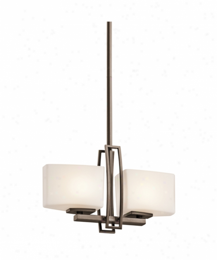 Kichler 42622miz Adelaide 2 Light Single Tiwr Chandelier In Mission Bronze Upon Satin-etched Cased Opal Glass