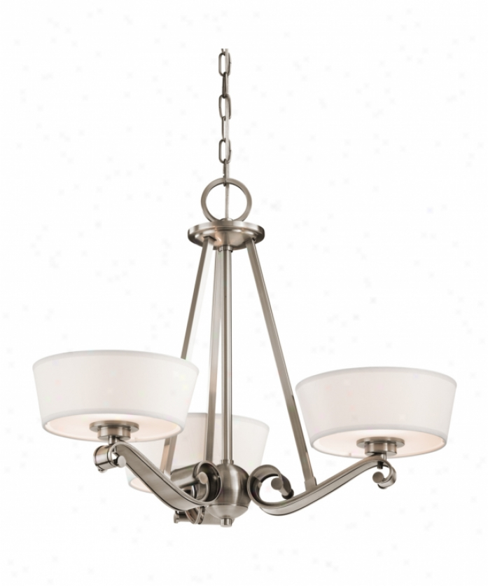 Kicjler 42711clp Livingston 3 Light Single TierC handelier In Classic Pewter With Satin Etched Glass Difusser Glass