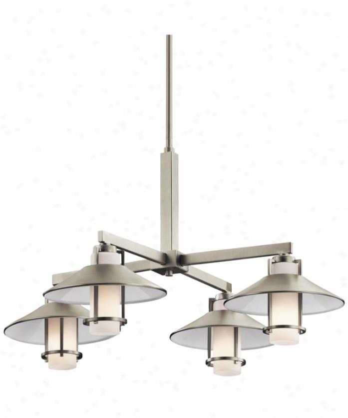 Kichler 42812ni Tavistock 4 Light Single Tier Chandelier In Brushed Nickel With Satin-etched Cased Opal Glass