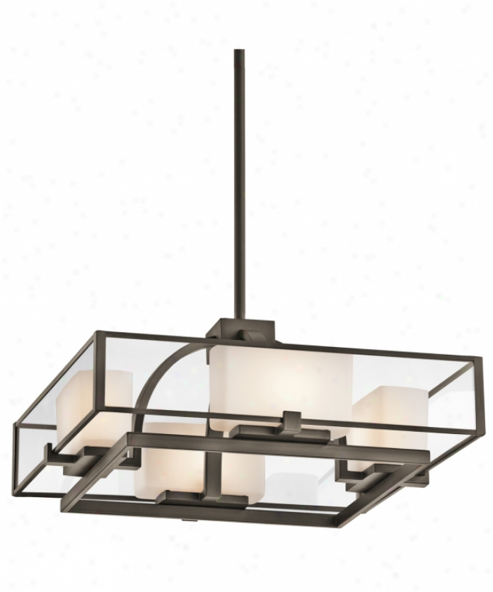 Kichler 42826oz Isola 4 Light Semi Flush Mount In Olde Bronze With Clear Outer And Satin-etched Cased Opal Inner Glass