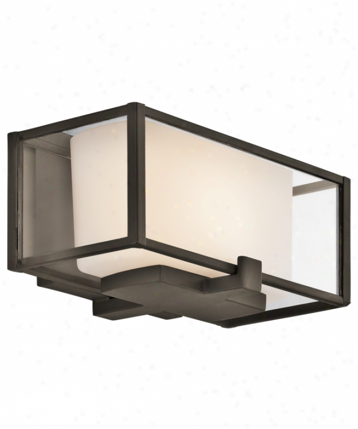 Kichler 42827oz Isola 1 Light Wall Sconce In Olde Bronzw With Clear Exterior And Satin-etched Casex Opal Inner Glass