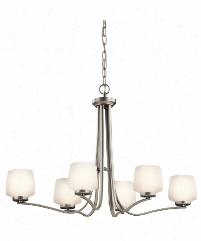 Kichler 42831ni Truett 6 Light Single Tier Chandelier In Brushed Nickel With Satin-etched Cased Opal Glass