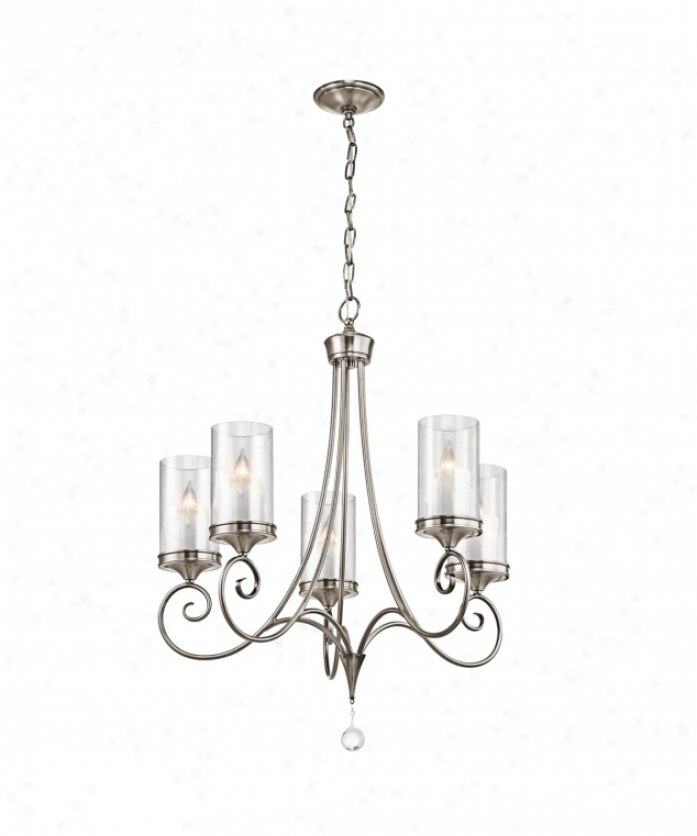 Kichler 42861clp Lara 5 Light Single Row Chandelier In Classic Pewter With Clear Outside /white Mottle Inside Glass