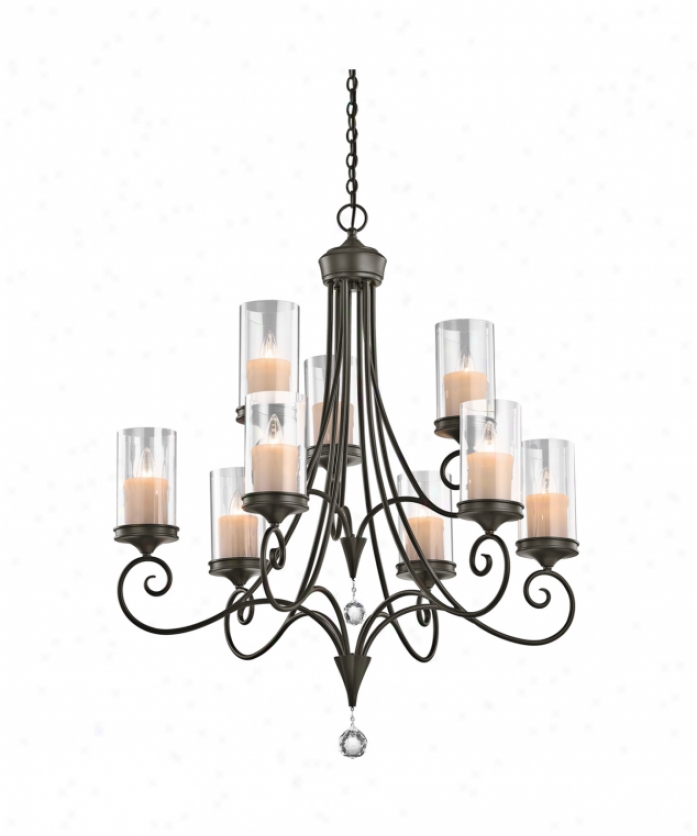 Kichler 42863swz Laurel 9 Light Two Tier Chandelier Ih Shadow Bronze With Clear Glasscut And Polished Crystal Language Crystal