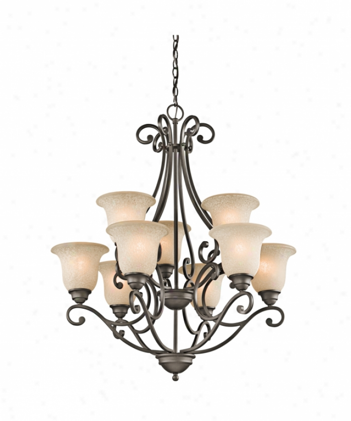 Kichler 43226oz Camerena 9 Light Two Tier Chandelier In Olde Bronze With White Scavo With Light Umber Inside Tint Glass