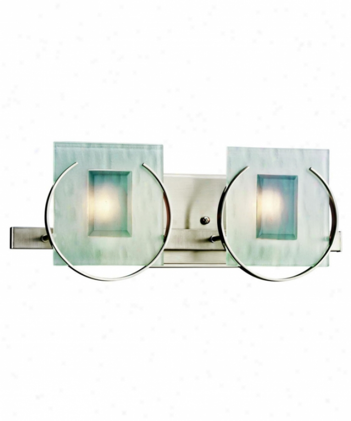 Kichler 45073ni Manitona 2 Light Bath Vanity Light In Brushed Nickel With Etched Textured Clear And Light Gray Beveled Fusedrectangle Glass