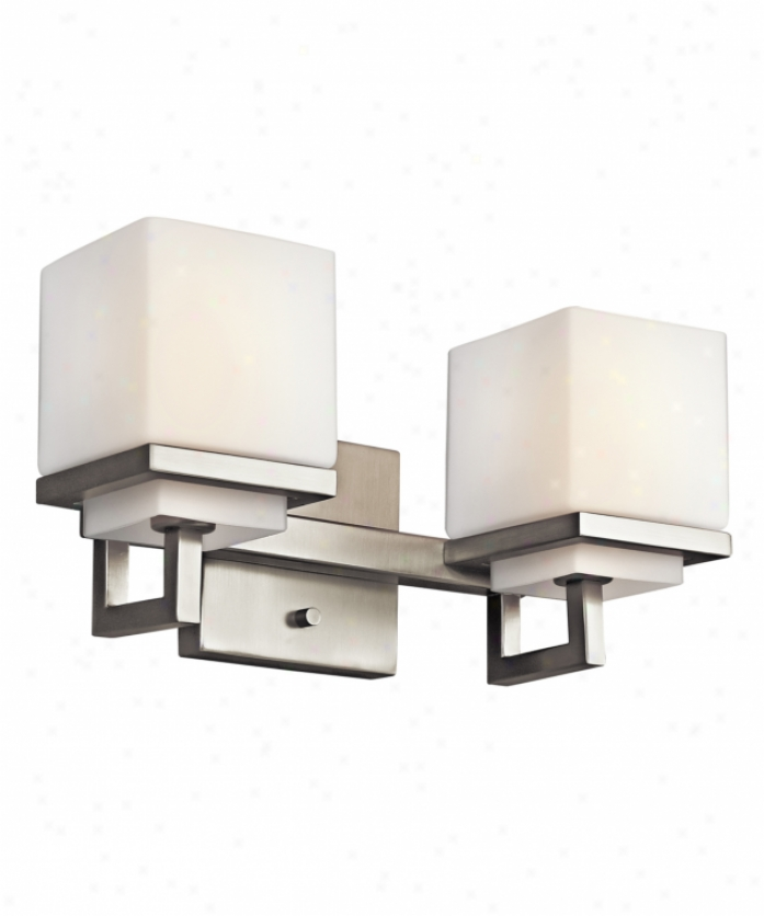 Kichler 45138ni Metro Park 2 Porous Bath Vanity Light In Brushd Nickel With Satin Etched Cased Opal Glass