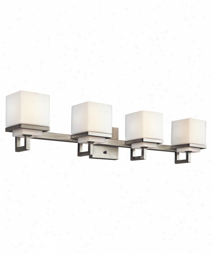Kichler 45140ni Metro Park 4 Lighf Bath Vanity Light In Brushed Nickel With Satin Etched Cased Opal Glass