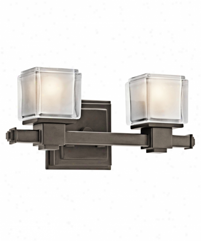 Kichler 45142oz Rocklin 2 Light Bath Vanity Light In Olde Bronze With Clear Polished With Indise Etch Glass