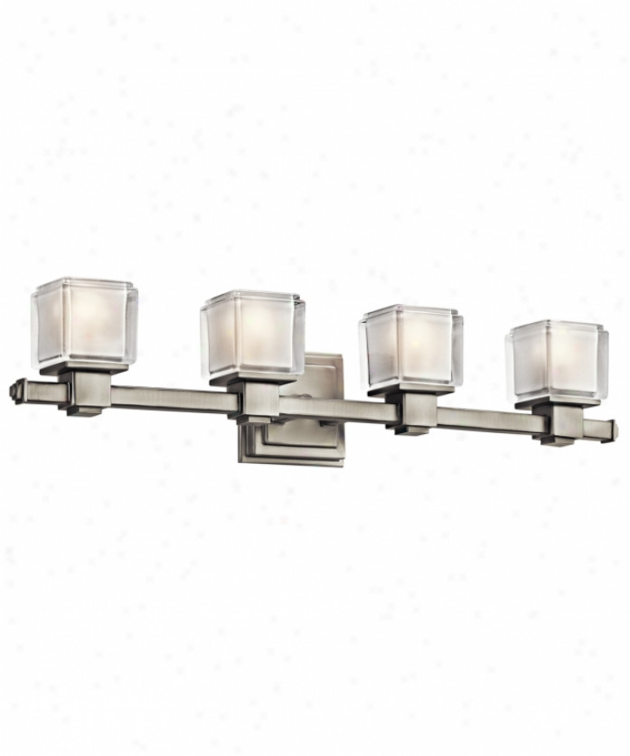 Kichler 45144ni Rocklin 4 Light Bath Vanity Light In Brushed Nickel With Clear Polished With Indise Etch Glass
