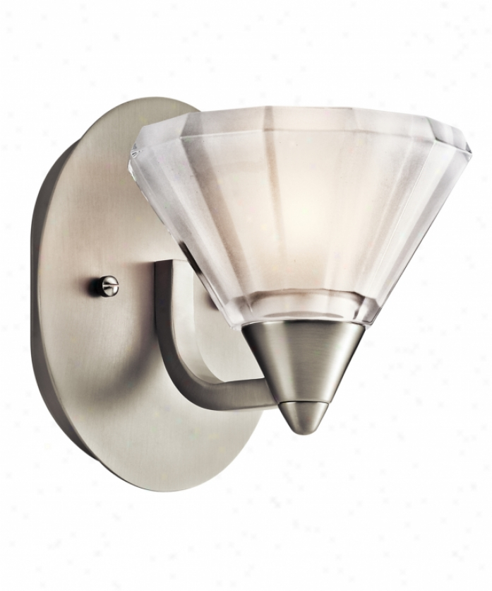 Kichler 45145ni Serravalle 1 Light Wall Sconce In Brushed Nickel With Polished Clear With Inside Etch Glass