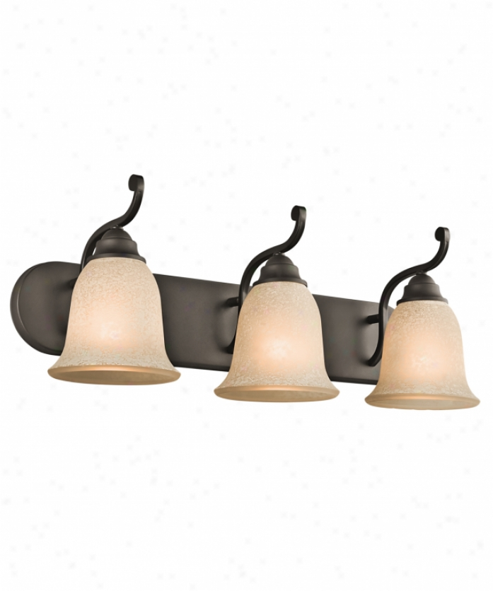 Kichler 45423oz Camerena 3 Light Bath Vanity Light In Olde Bronze With White Scavo With Light Umber Inside Tint Glass
