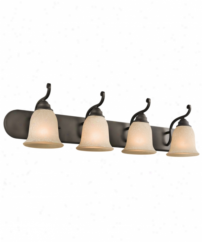 Kichler 45424oz Camerena 4 Light Bath Vanity Light In Olde Bronze With White Scavo With Light Umber Inside Tint Glass
