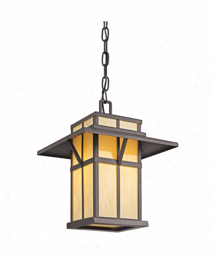 Kichler 49051az Booth Bay 1 Light Outdoor Hanging Lantern In Architectural Bronze With Light Honey Art Glass