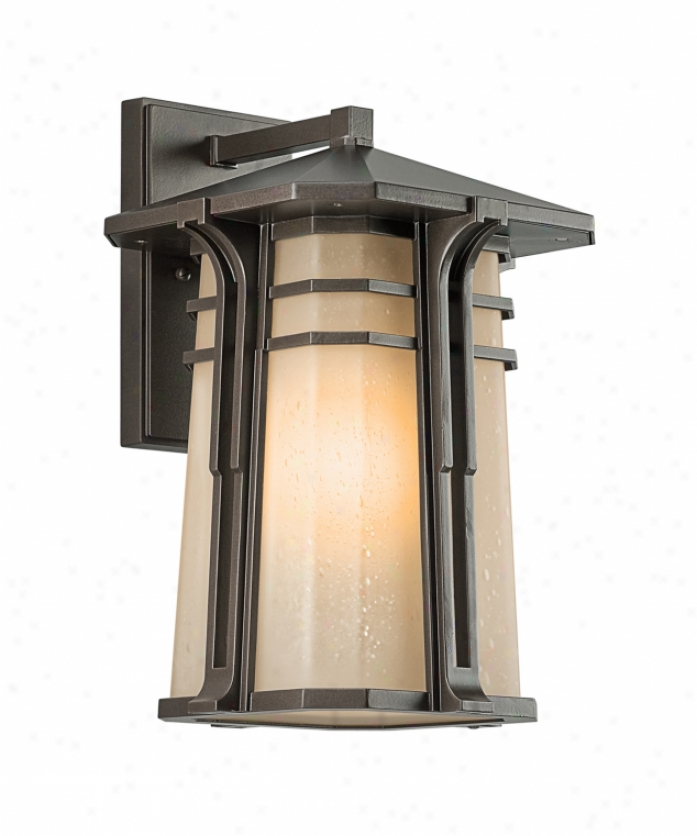 Kichler 49176oz North Creek 1 Light Outdoor Wall Light In Olde Bronze With Light Umber Etched Seedy Glass