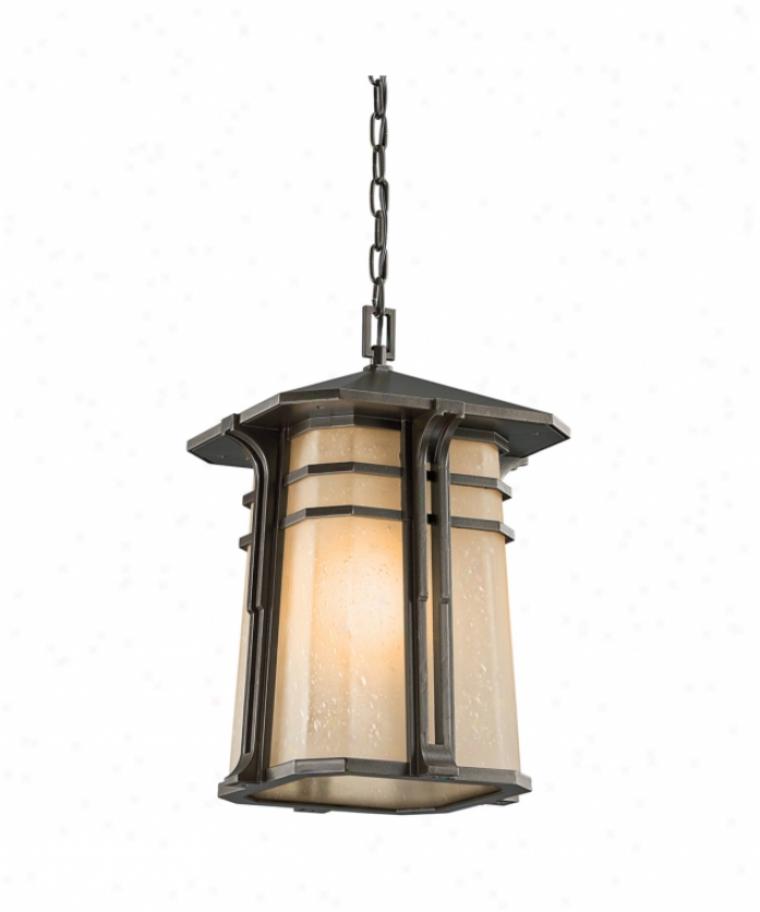 Kichler 49180oz North Creek 1 Light Outdoor Hanging Lanetrn In Olde Bronze With Light Umber Etched Seedy Glass