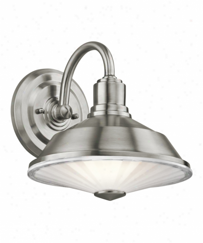 Kichler 49222ss Point Judith 1 Light Outdoor Wall Light In Stainless Steel With Clear Outer And Inside Etched Glass