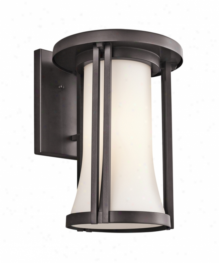 Kichler 49281az Tiverton 1 Light Outtdoor Wall Light In Architectural Bronze With Satin-etched Cased Opal Glass