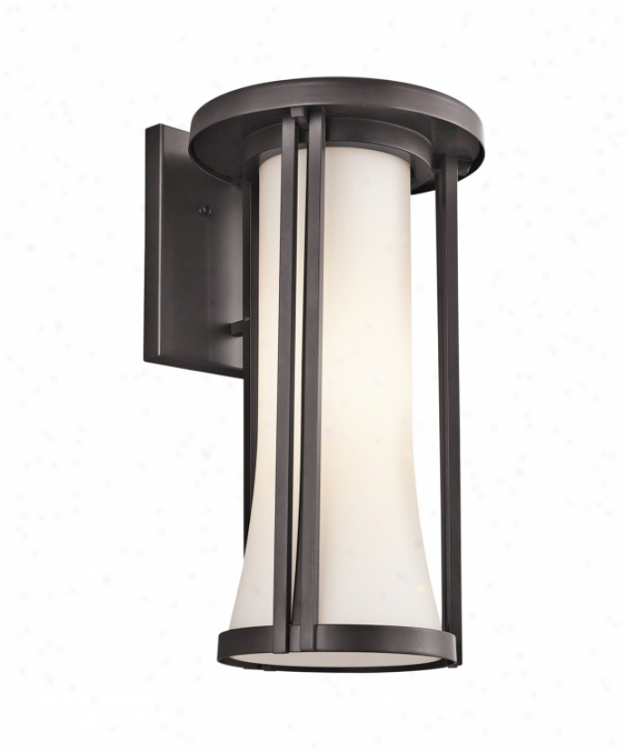 Kichler 49282az Tiverton 1 Light Outdoor Wall Light In Architectural Brpnze With Satin-etched Cased Opal Glass
