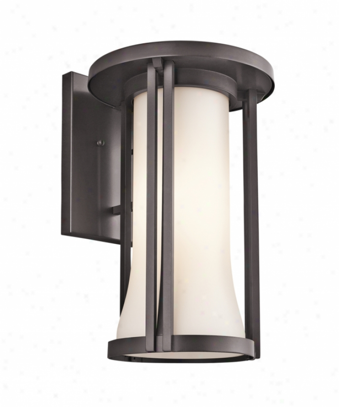 Kichler 49283az Tiverton 1 Light Outdoor Wall Light In Architectural Bronze With Satin-etched Cased Opal Glass