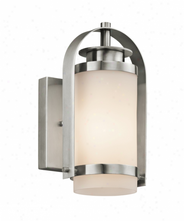 Kichler 49313ss Westpoort 1 Light Outdoor Wall Light In Stainless Steel With Satin-etched Cased Opal Glass