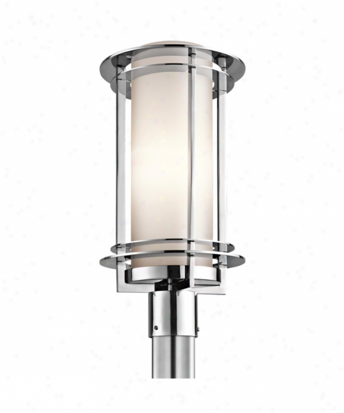 Kichler 49349pss316 Pacific Edge 1 Light Exterior Post Lamp I nPolished Spotless Steel With Satin Etched Cased Opal Glass