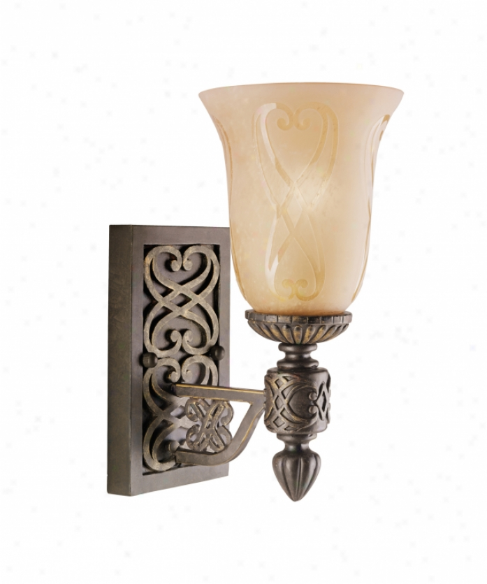 Kixhler 6392ctz Sebastian 1 Light Wall Sconce In Colton Bronze With Distressed Antique-etched Glass Glass
