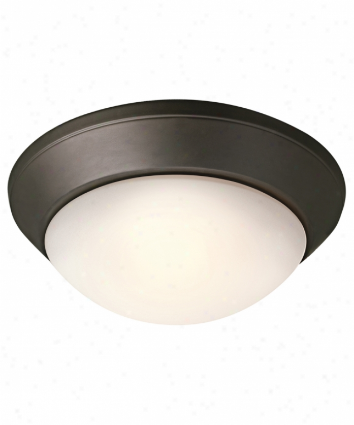 Kichler 8882oz Ceiling Space 2 Light Flush Mount In Olde Bronze With Satin Etched Cased Opal Twist On Glass Glass