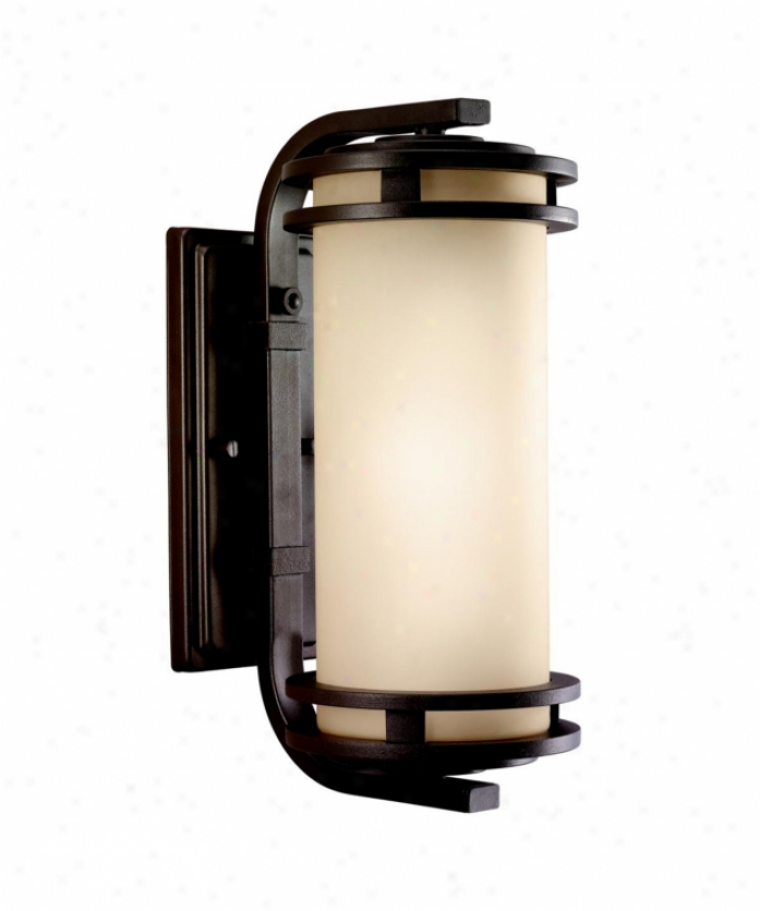 Kichler 9101azt Hendrik 1 Light Outdoor Wall Light In Textured Architectural Bronze With Light Umber Glass