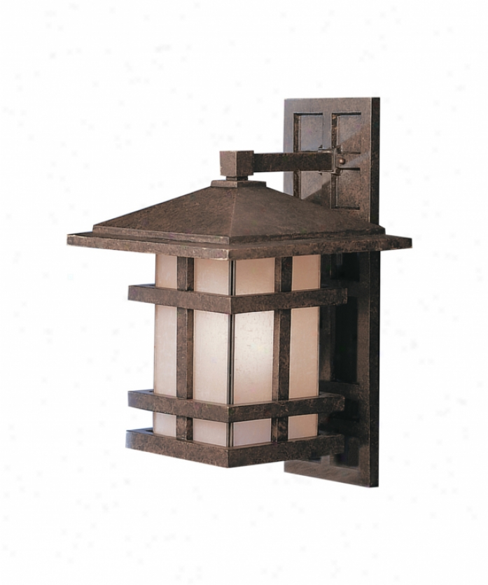 Kichler 9132agz Cross Creek 1 Light Outdoor Wall Light In Aged Bronze With Textured Linen Seedy Panels Glass