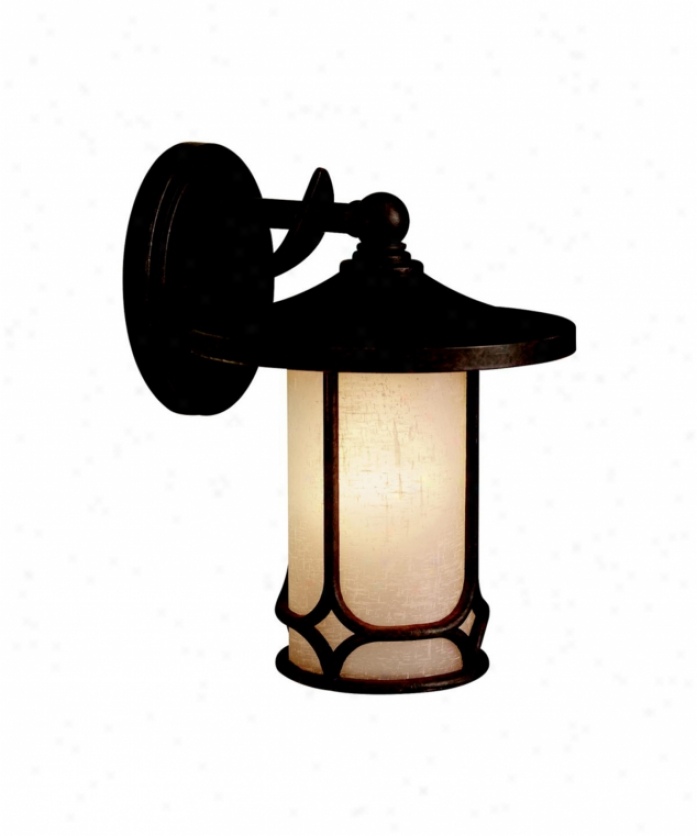 Kichler 9365agz Chicago Exterior 1 Light Outdoor Wall Light In Aged Bronze With Textured Linen Seedy Glass