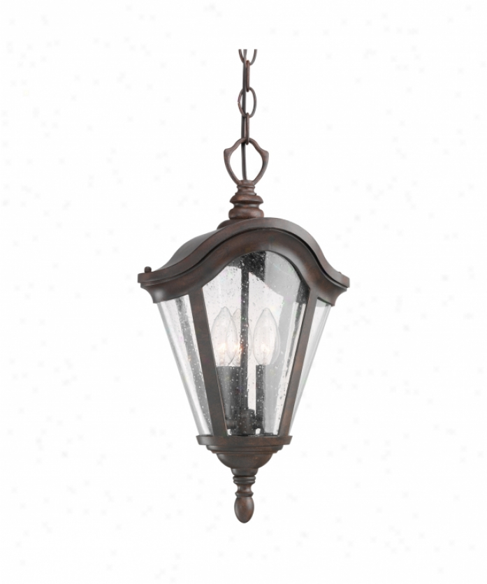 Kichler 9519tzg Lafayette 1 Light Outdoor Hanging Lantern In Tannery Bronze With Gold Accents With Clear Seedy Glass