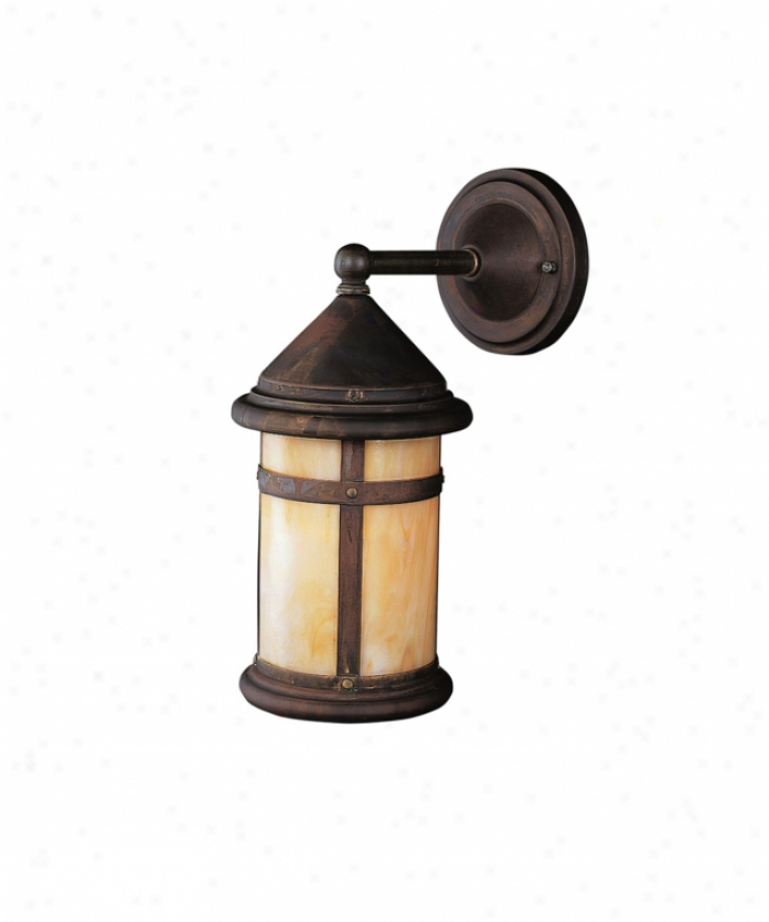 Kichler 9646cv Tularosa 1 Light Outdoor Wall Light In Canyon View With Honeyy Opalescent Panels Glass