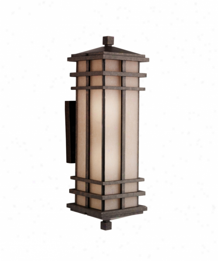 Kichler 9656agz Cross Creek 2 Light Outdoor Wall Light In Old Bronze With Textured Linen Seedy Panels Glass