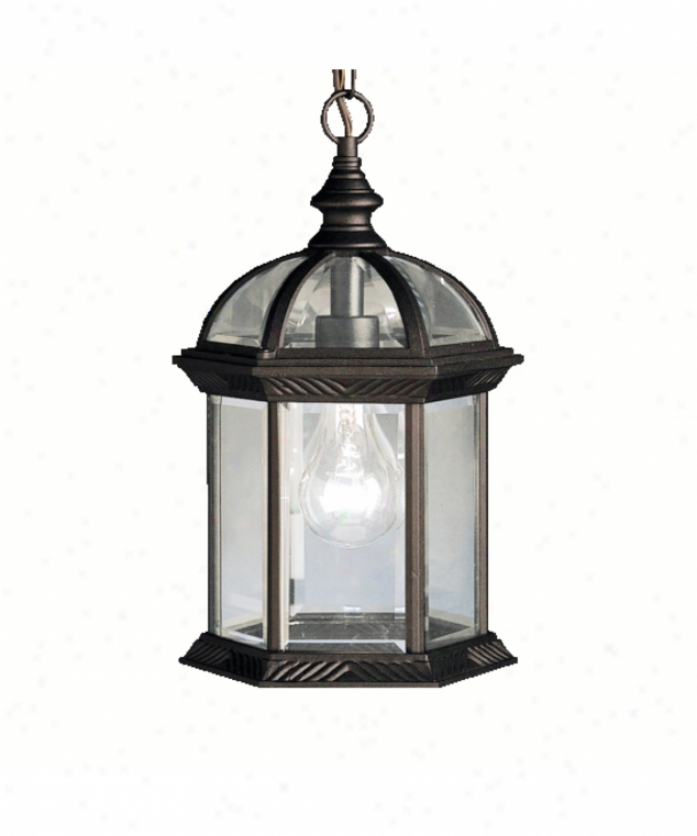 Kichler 9835bk New Street Series 08 Outdoor 1 Light Outdoor Hanging Lantern In Black With Clear Beveled Panels Glass