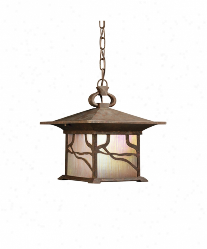 Kichler 9837dco Morris 1 Light Outdoor Hanging Lantern In Distressed Copper With Inside Etched Iridized Seedy Glass