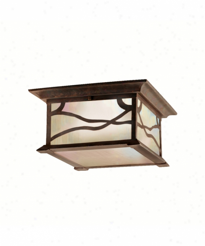 Kichler 9838dco Morris 2 Light Exterior Flush Mount In Distressed Copper With Inside Etched Iridized Seedy Glass