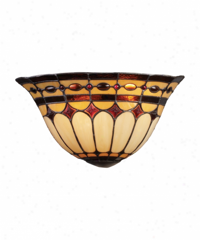 Landmark Lighting 08032-bc Diamond Ring 2 Light Wall Sconce In Burnished Copper With Tiffany Style Glass Glass