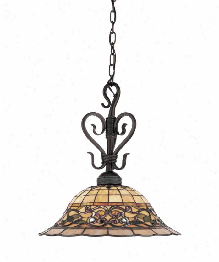 Landmark Lighting 362-va Tiffany Buckingham 1 Liht Ceiling Pendant In Vintage Antique With Tiffany Style Glass Glass