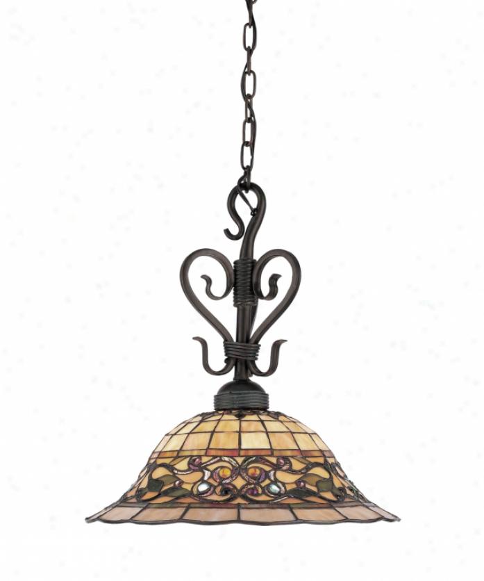 Landmark Lighting 362-va Tiffany Buckingham 1 Liht Ceiling Pendant In Vintage Antique With Tiffany Style Glass Glass