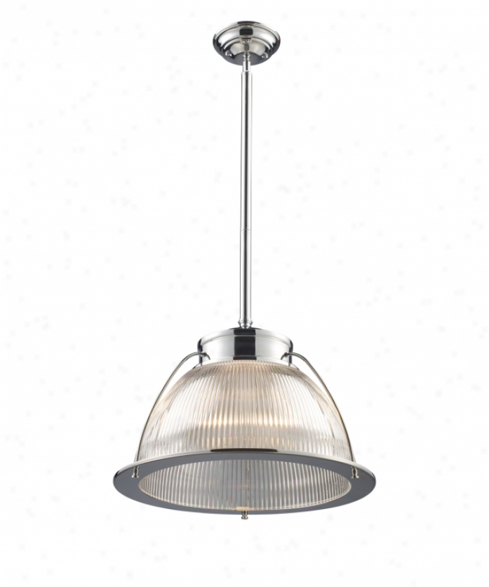 Landmark Lighting 60004-1 Halophane 1 Light Muni Pendant In Polished Chrome With Rinbed Halophane Glass Glwss
