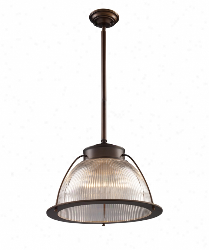 Landmark Lighting 60014-1 Halophane 1 Light Mini Pendant In Aged Bronze With Ribbed Halophane Glass Glass