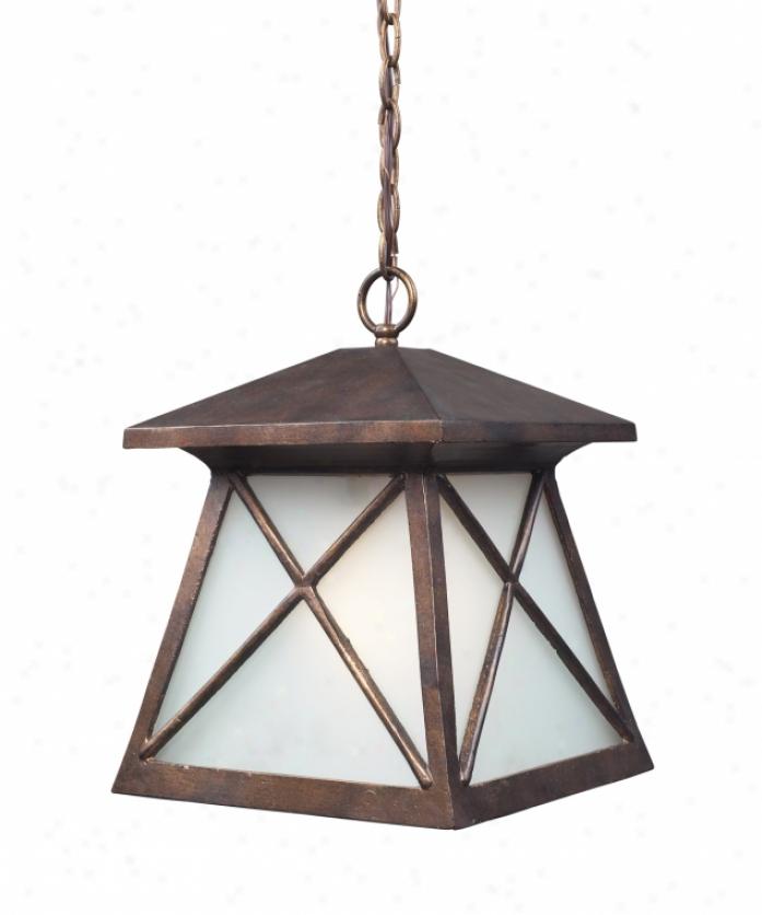 Landmark Lighting 64005-1 Spencer 1 Light Outdoor Hanging Lantern In Hazelnut Bronze Wi5h Frosted Glass Glass